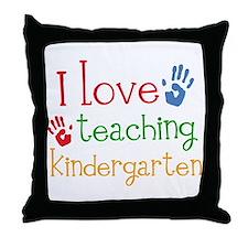 I Love Teaching Kindergarten Throw Pillow