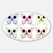 Sugar Skull Butterfly Display Sticker (Oval)