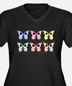 Sugar Skull Butterfly Display Women's Plus Size V-