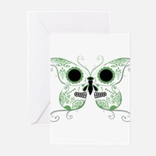 Green Sugar Skull Butterfly Greeting Cards (Pk of