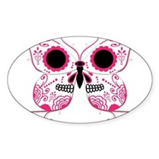 Hot Pink Sugar Skull Butterfl Decal