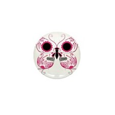 Hot Pink Sugar Skull Butterfl Mini Button