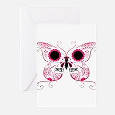 Hot Pink Sugar Skull Butterfl Greeting Cards (Pk o