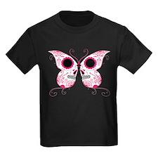 Hot Pink Sugar Skull Butterfl T
