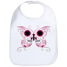 Hot Pink Sugar Skull Butterfl Bib