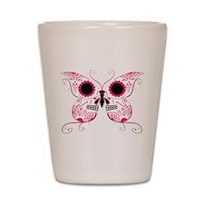 Hot Pink Sugar Skull Butterfl Shot Glass