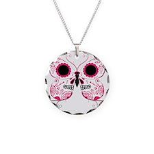 Hot Pink Sugar Skull Butterfl Necklace