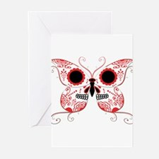 Red Sugar Skull Butterfly Greeting Cards (Pk of 20