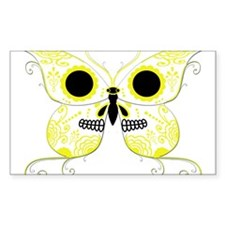 Yellow Sugar Skull Butterfly Decal