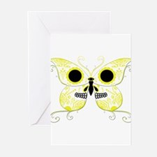 Yellow Sugar Skull Butterfly Greeting Cards (Pk of