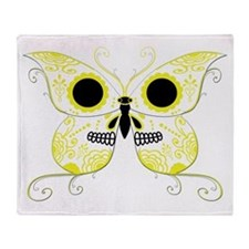 Yellow Sugar Skull Butterfly Throw Blanket