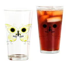 Yellow Sugar Skull Butterfly Drinking Glass