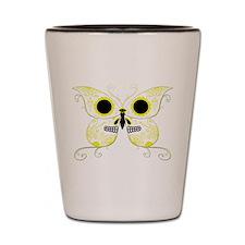 Yellow Sugar Skull Butterfly Shot Glass