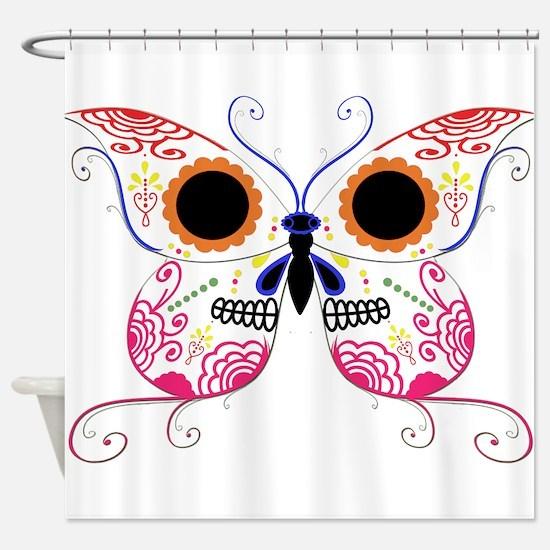 Multi Color Sugar Skull Butte Shower Curtain