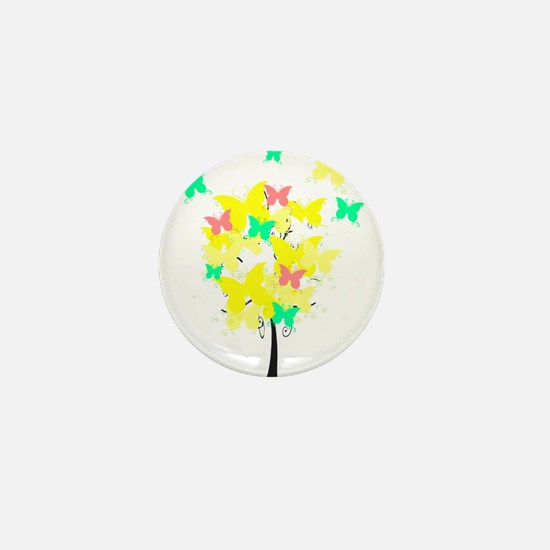 Yellow Butterfly Tree Mini Button