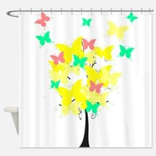 Yellow Butterfly Tree Shower Curtain