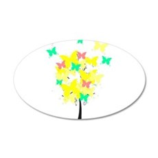 Yellow Butterfly Tree 22x14 Oval Wall Peel