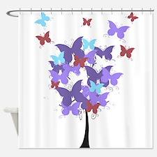 Purple Butterfly Tree Shower Curtain