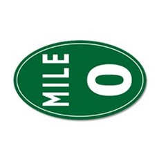 Mile 0 Stickers 22x14 Oval Wall Peel