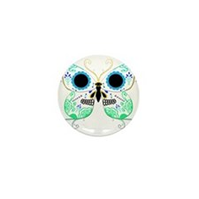 Green Multi Sugar Skull Butte Mini Button