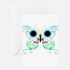 Green Multi Sugar Skull Butte Greeting Cards (Pk o