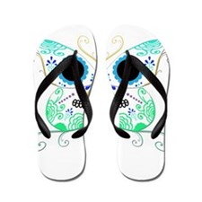 Green Multi Sugar Skull Butte Flip Flops