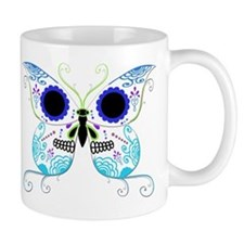 Blue Multi Sugar Skull Butter Mug