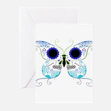Blue Multi Sugar Skull Butter Greeting Cards (Pk o