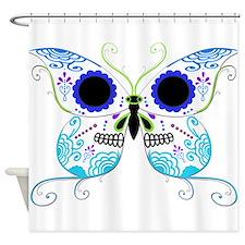 Blue Multi Sugar Skull Butter Shower Curtain