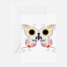 Red Multi Sugar Skull Butterf Greeting Cards (Pk o