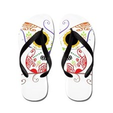 Red Multi Sugar Skull Butterf Flip Flops
