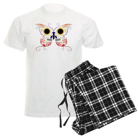 Red Multi Sugar Skull Butterf Men's Light Pajamas
