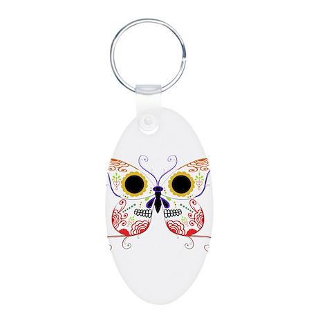 Red Multi Sugar Skull Butterf Aluminum Oval Keycha