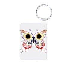 Red Multi Sugar Skull Butterf Keychains