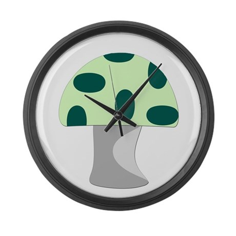 Green Mushroom Large Wall Clock