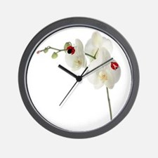 Lady Bug Orchid Wall Clock
