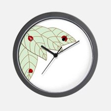 Lady Bug Leaves Wall Clock