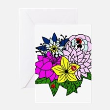Lady Bug Flower Bed Greeting Card