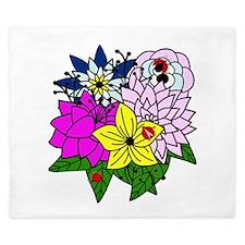 Lady Bug Flower Bed King Duvet