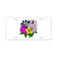 Lady Bug Flower Bed Aluminum License Plate