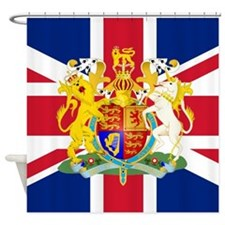 UK Flag and Coat of Arms Shower Curtain