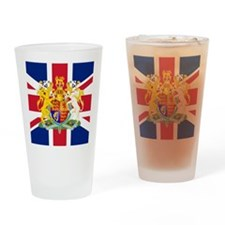 UK Flag and Coat of Arms Drinking Glass