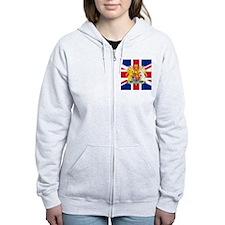 UK Flag and Coat of Arms Zip Hoodie