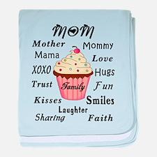 Mom Family Cupcakes baby blanket