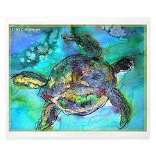 Sea Turtle, wildlife art, King Duvet