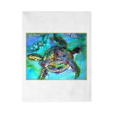 Sea Turtle, wildlife art, Twin Duvet