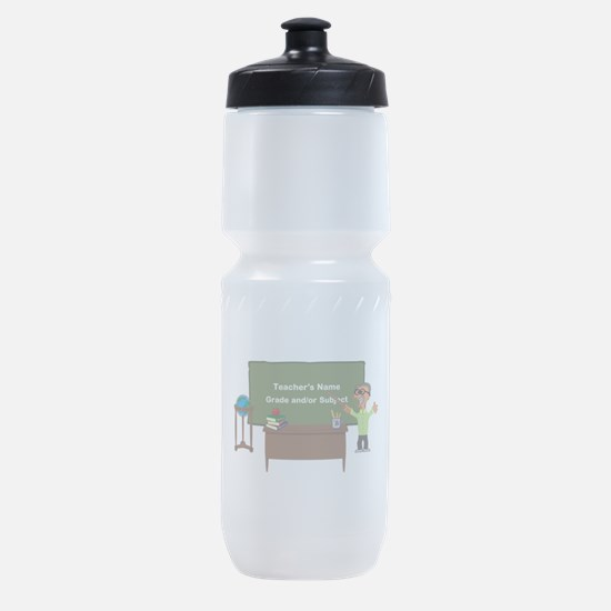Cartoon Teacher Appreciation Male Sports Bottle