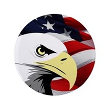 "American Flag/Bald Eagle 3.5"" Button (100 pack)"