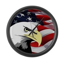 American Flag/Bald Eagle Large Wall Clock
