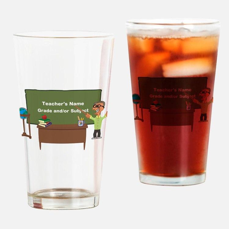 Cartoon Teacher Appreciation Male Drinking Glass